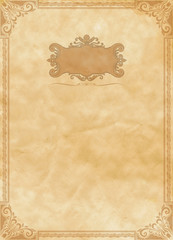 Wall Mural - Background of old paper with old-fashioned ornamental border.