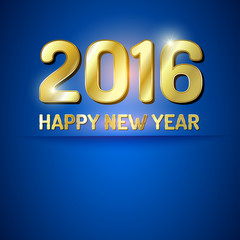 Blue and gold greeting card for New Year 2016.
