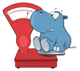 A little hippo and a weighing scale. Cartoon