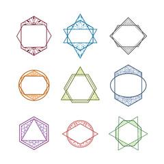 Set of vector colored geometric trendy icons, borders, logos