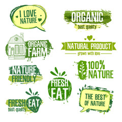 Set of logos, stamps, badges, labels for natural products, farms