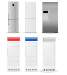 Refrigerators: silver, white, with two doors and glass doors