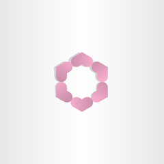 violet geometric hearts in circle logo
