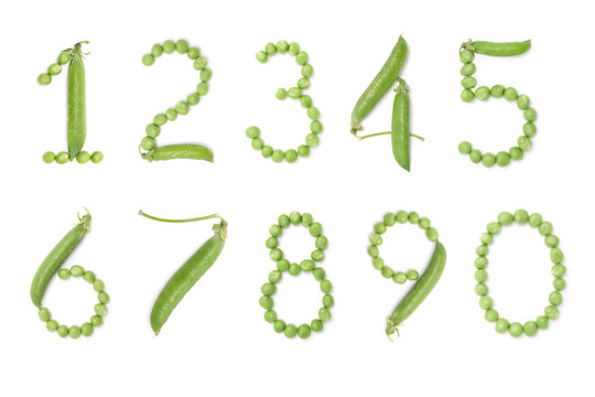 Set of numbers with green peas