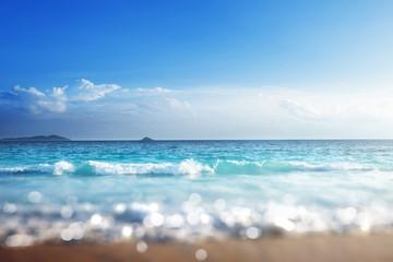 Fotomurales - beach in sunset time, tilt shift soft effect