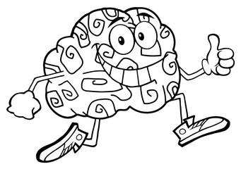 Black And White Brain Character Jogging And Giving A Thumb Up