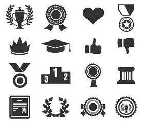 Trophy and prize symbol line icon on white background vector illustration