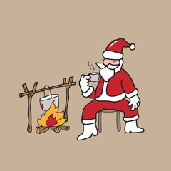 Christmas Santa drinking coffee