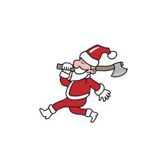 Christmas Santa holding axe cartoon