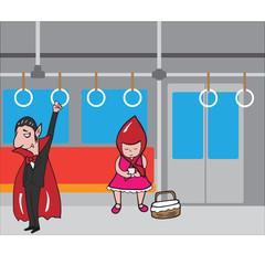 Halloween vampire and red hood girl in subway 1