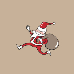 Santa running with bag