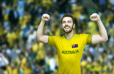 Australian fan celebrates in the stadium