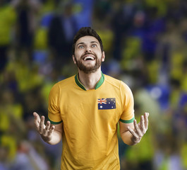 Australian soccer player celebrates in the stadium