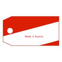 Austria flag on price tag with word Made in Austria isolated on