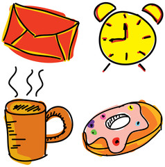 Colorful pictures with alarm clock
