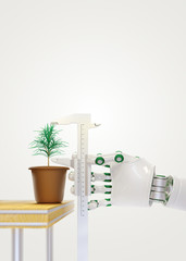 The robot arm to measure the caliper plant in a flower pot