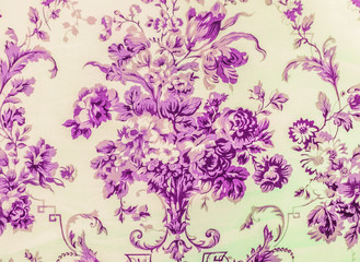 Retro Lace Floral Seamless Pattern Purple Fabric Background Vintage Style