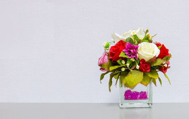 Flower Vase at The Corner on Gray Background with Copyspace to input Text