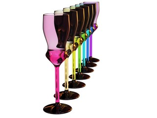 rainbow colored row of glasses on white