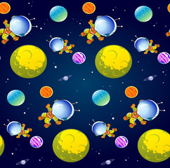 Pattern with cartoon astronaut