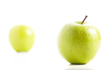 Fresh Green Apples Isolated on White Background.