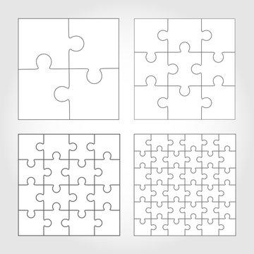 Jigsaw puzzle four vector flat blank templates