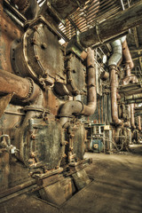 Decaying boiler room in an abandoned power plant