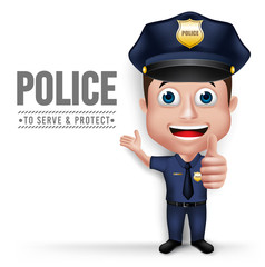 3D Realistic Friendly Police Man Character Policeman in Uniform