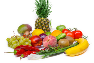 Fruit and vegetables assorted isolated white background