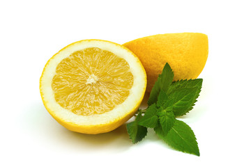 Lemon isolated with mint on white background