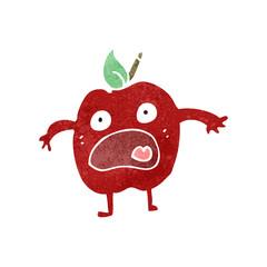 retro cartoon shocked apple