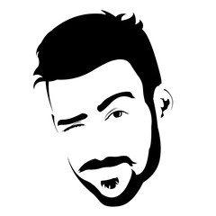 Portrait of young bearded charming man winking at camera vector illustration