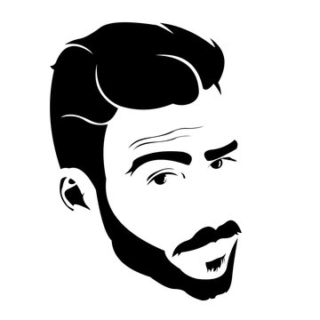 Portrait of young bearded charmer looking at camera with raised eyebrow vector illustration