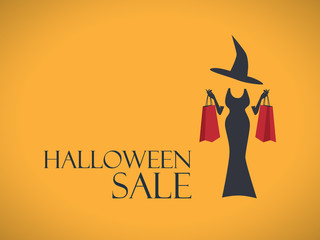 Halloween sale poster template. Special holiday discounts flyer