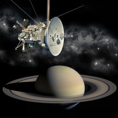Unmanned spacecraft similar with the Cassini Huygens orbiter, passing Saturn.