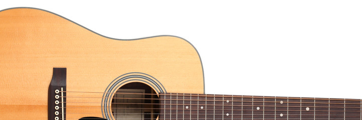 Classic shape western acoustic guitar isolated white background with clipping path. Musical instruments shop or learning school concept