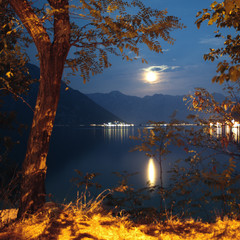 Golden Moonlight Reflection