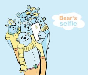 hand painted bear selfie. many bears do self photo.