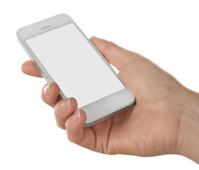 Hands holding mobile smart phone isolated on white