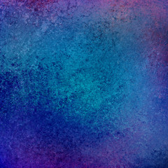 luxurious bright blue background with purple frame or border and vintage grunge background texture design of rough distressed wall paint illustration