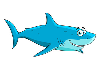 Swimming big shark cartoon character