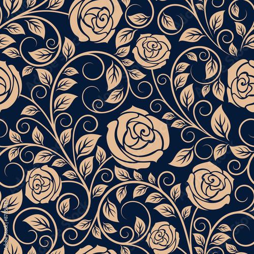 vintage roses flowers seamless pattern fichier vectoriel libre de droits sur la banque d. Black Bedroom Furniture Sets. Home Design Ideas