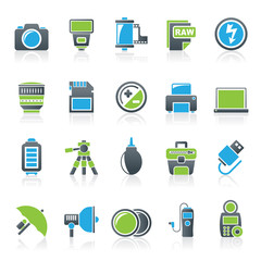 Camera equipment and photography icons - Vector Icon Set