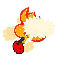 cartoon flaming cherry skull with speech bubble