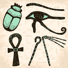 4 Egyptian symbols on hand drawn background