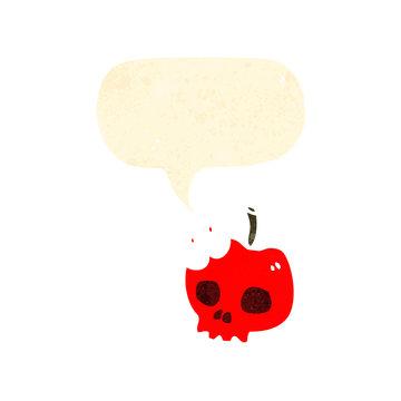 retro cartoon skull apple