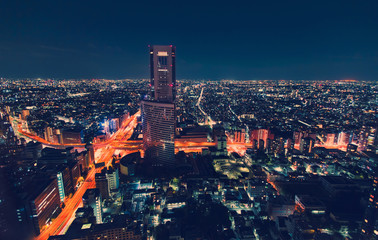 Aerial view cityscape at night in Tokyo, Japan