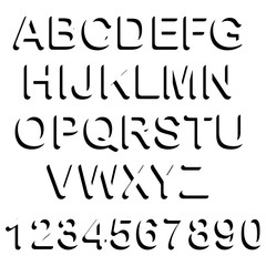 illustration vector of black shadow uppercase font set and numbe