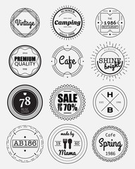 12 vintage circle badges collection