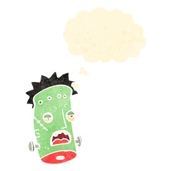 retro cartoon frankenstein monster head